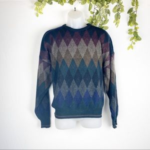 Alberto Danti Knit Fair-isle Wool Sweater Crewneck